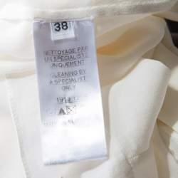 Balmain Cream Silk Gold Tone Button Detail Long Sleeve Shirt M