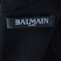 Balmain Black Wool High Neck Cold Shoulder Bodycon Midi Dress S