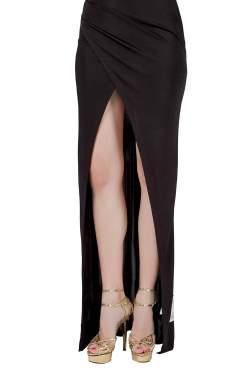 Balmain Black Stretch Knit Crystal Embellished Draped One Shoulder Evening Gown S
