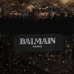 Balmain Brown Metallic Bouclé-Knit Fringed Cardigan M