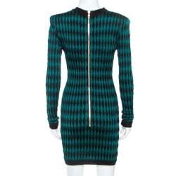 Balmain Bicolor Knit Long Sleeve Intarsia Mini Dress S
