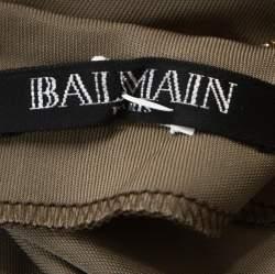 Balmain Taupe Green Jersey Draped Crystal Strap Dress M