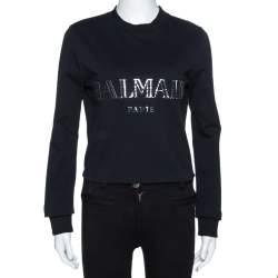 Balmain Black Cotton Metallic Logo Applique Cropped Sweatshirt Top M