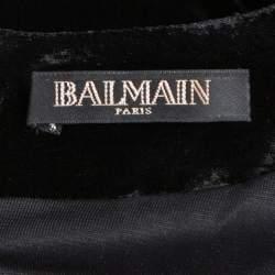 Balmain Black Velvet Studded Mini Dress M