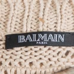 Balmain Beige & White Distressed Linen Knit Crew Neck Sweater M