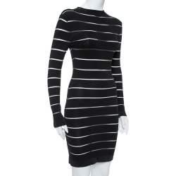 Balmain Black Paneled Knit Long Sleeve Bodycon Dress M