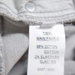 Balmain Grey Denim Quilted Detail Skinny Jeans M