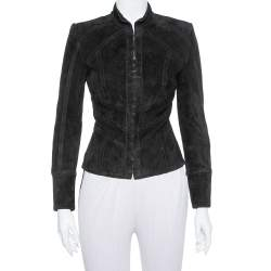 Balmain Black Suede Hook and Eye Front Fitted Jacket S