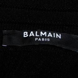 Balmain Black Rib Knit Lace Up Neckline Fitted Dress S