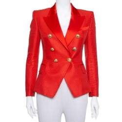 Balmain Red Textured Cotton & Silk Double Breasted Blazer M