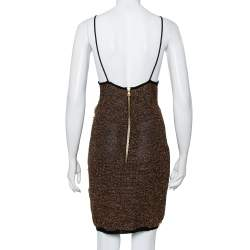 Balmain Gold Mesh Fringe Detail Sleeveless Mini Dress M