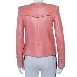 Balmain Pink Leather Zip Front Biker Jacket M