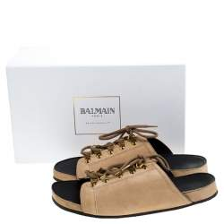 Balmain Beige Suede Lace Up Flat Sandals Size 36