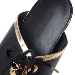 Balmain Black Leather Lace Up Flat Sandals Size 39