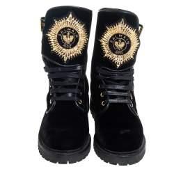 Balmain Black Velvet Embellished Eagle Combat Boots Size 37