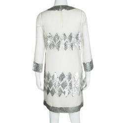 Barbara Bui  Off White Organza Sequin Embellished Shift Dress M