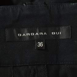 Barbara Bui Black Denim and Silk Paneled Asymmetric Hem Pants S