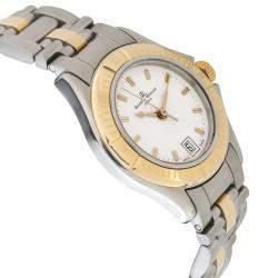 Baume & Mercier White 18K Yellow Gold And Stainless Steel Malibu MV045047 Women's Wristwatch 28 MM