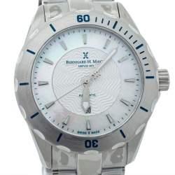 """ساعة يد نسائية برنارد اتش. ماير """"بالاد"""" ستانلس ستيل و صدف بيضاء 34 مم"""