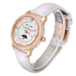 Blancpain MOP Diamonds 18k Rose Gold Quantieme Complet 3663-2954-55B Women's Wristwatch 35 MM