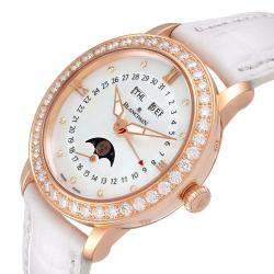 Blancpain MOP Diamonds 18k Rose Gold Quantieme Complet 3663-2954-55B Women's Wristwatch 35 MM