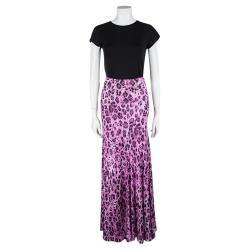 Blumarine Pink Animal Print Maxi Skirt S