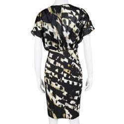 Blumarine Black Printed Overlay Short Sleeve Dress S