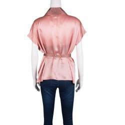 Blumarine Pink Satin Embroidered Contrast Trim Wrap Top L