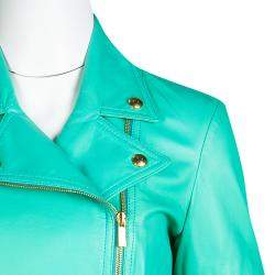 Blumarine Green Lamb Leather Zip Front Jacket M