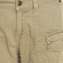 Blumarine Green Overdyed Cotton Cropped Cargo Pants L