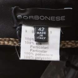 Borbonese Black Satin Paneled Straight Fit Trousers M