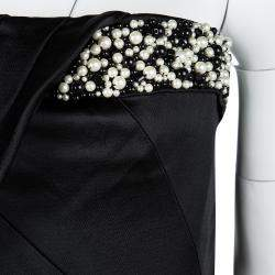Boss By Hugo Boss Black Pearl Embellished Strapless Damarda Dress M