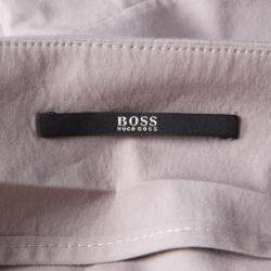 Boss By Hugo Boss Grey Ruched Stretch Cotton Pencil Skirt M