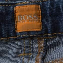 Boss Orange by Hugo Boss Indigo Washed Denim Distressed Hem J20 Slim Fit Jeans M