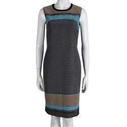 Boss By Hugo Boss Multicolor Textured Sleeveless Diesra Dress S