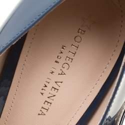Bottega Veneta Slate Grey Patent Leather Bette Cap Toe Mary Jane Pumps Size 36.5