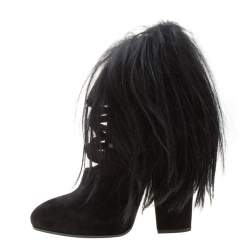 Bottega Veneta Black Suede and Fur Criss Cross Ankle Boots Size 39