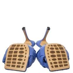 Bottega Veneta Blue Leather Lido Slide Sandals Size 38