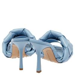 Bottega Veneta Light Blue Intrecciato Leather Lido Slide Sandals Size 38