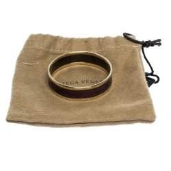 Bottega Veneta Mauve Purple Enamel Gold Plated Bangle Bracelet S