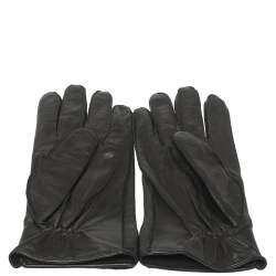 Bottega Veneta Black Intreciatto Leather Gloves Size 85