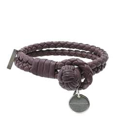 Bottega Veneta Lavender Intrecciato Leather Double Strand Knot Bracelet S