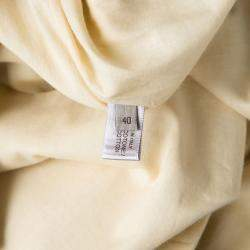 Bottega Veneta Yellow  Gathered Cotton Button Detail Dress S
