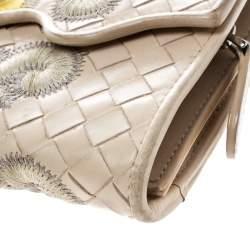 Bottega Veneta Light Beige Intrecciato Embroidered Leather Continental Wallet