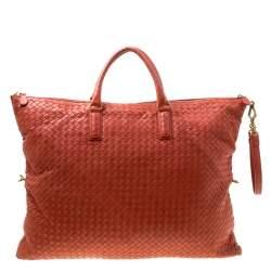 Bottega Veneta Red Intrecciato Nappa Leather Convertible Tote