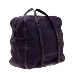 Bottega Veneta Purple Leather Satchel