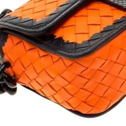 Bottega Veneta Orange/Black Intrecciato Leather Mini Glass Shoulder Bag