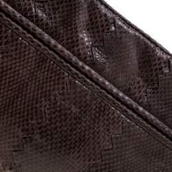 Bottega Veneta Dark Brown Snakeskin Convertible Clutch