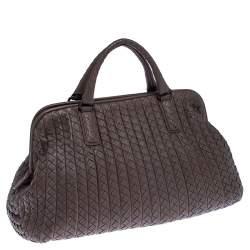 Bottega Veneta Brown Intrecciato Leather Satchel