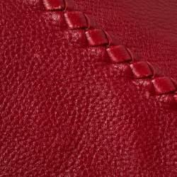 Bottega Veneta Red Cervo Leather Large Baseball Hobo